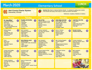 March Elementary Lunch Menu