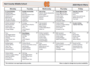 March MS lunch menu