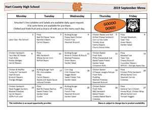 September HS Lunch menu