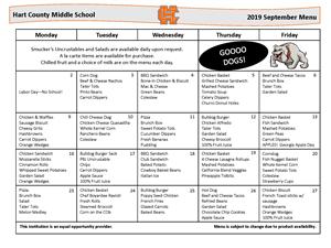 September Lunch Menu for MS