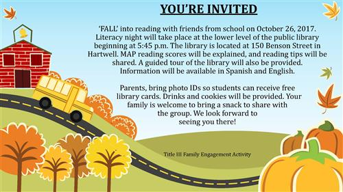 Literacy Night at Hart County Library Oct. 26 at 5:30 pm