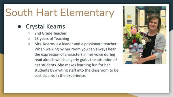 Crystal Kearns, South Hart Elementary